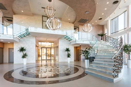 Hotel Reception「Modern staircase at the lobby」:スマホ壁紙(17)