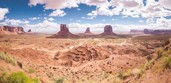 Monument Valley「USA, Utah, Monument Valley, panorama」:スマホ壁紙(5)