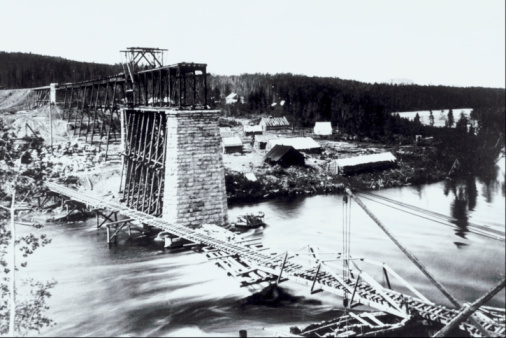 19th Century「Railroad bridge under construction , Nipigon River , Ontario , Canada」:スマホ壁紙(9)