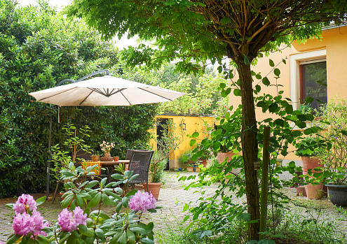 Sunshade「Cozy yard of an one-family house in summer」:スマホ壁紙(14)