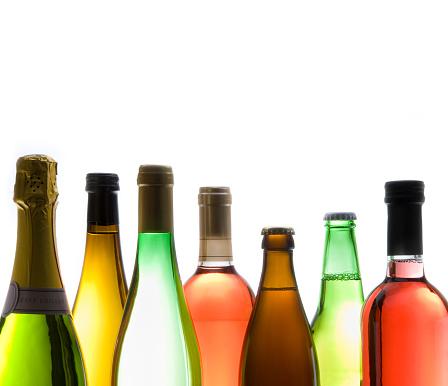 Wine Bottle「Various Types of Wine bottles on White Background」:スマホ壁紙(3)