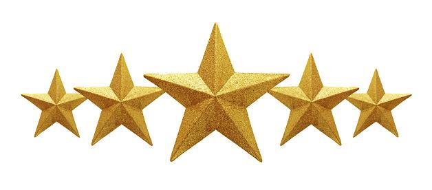 五つ「ゴールドの 5 つ星の分離白背景」:スマホ壁紙(8)