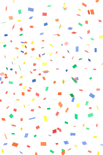 Multi Colored「Paper Confetti Rectangles and Squares Falling, Isolated on White」:スマホ壁紙(15)