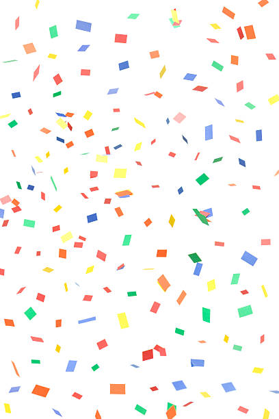 Paper Confetti Rectangles and Squares Falling, Isolated on White:スマホ壁紙(壁紙.com)