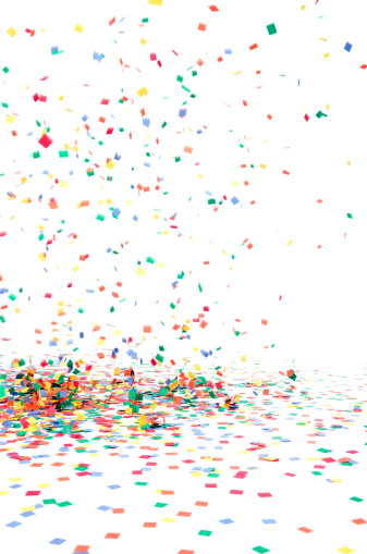 Happiness「Paper Confetti Falling to Floor, Isolated on White」:スマホ壁紙(0)