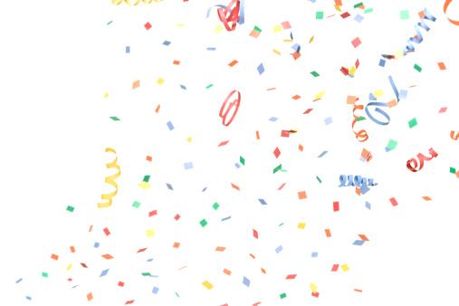 Celebration「紙と Streamers 落ちる紙吹雪、白で分離」:スマホ壁紙(13)