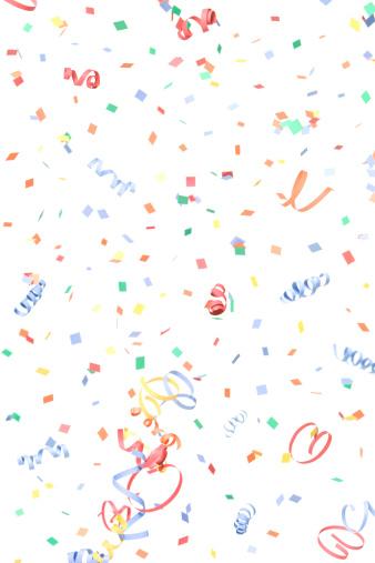 Celebration「紙と Streamers 落ちる紙吹雪、白で分離」:スマホ壁紙(17)