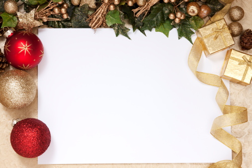 Christmas card「A blank white space surrounded by Christmas decorations」:スマホ壁紙(3)