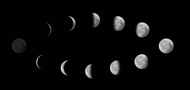 Moon in Different Phases Against Black Sky:スマホ壁紙(壁紙.com)