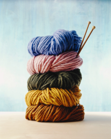 Wool「Stack of colorful yarns with knitting needles」:スマホ壁紙(8)