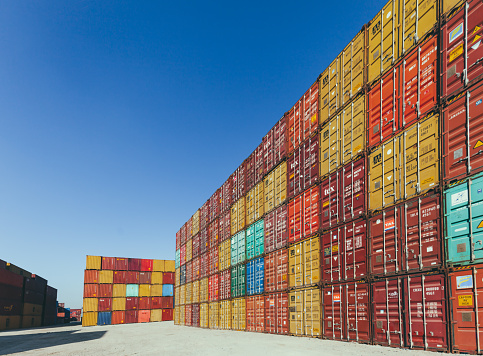 Ship「Stack of colorful cargo containers at the dock」:スマホ壁紙(15)