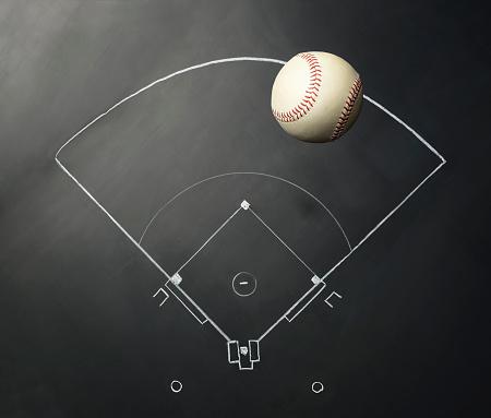 Chalk - Art Equipment「Baseball on Blackboard」:スマホ壁紙(18)