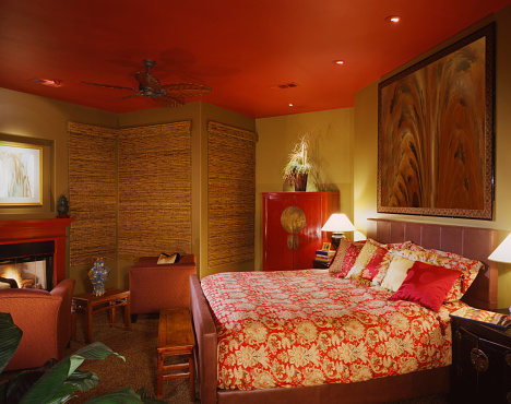 Ceiling Fan「Gold Asian-themed bedroom with red ceiling and fireplace」:スマホ壁紙(17)