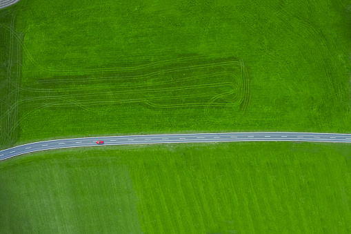 Remote Location「Fire engine driving on country road, aerial view」:スマホ壁紙(4)