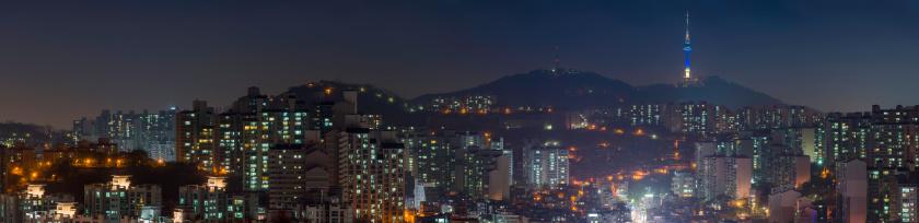 Avenue「Crowded night city lights panorama Seoul Tower South Korea」:スマホ壁紙(5)