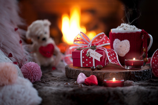 Stuffed Animals「Valentine's Day Gift and Hot Chocolate In front of the Fireplace」:スマホ壁紙(18)