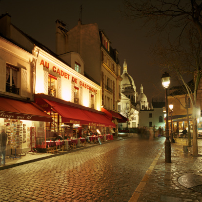 French Culture「Montmartre District with Sacre-Coeur at night」:スマホ壁紙(14)