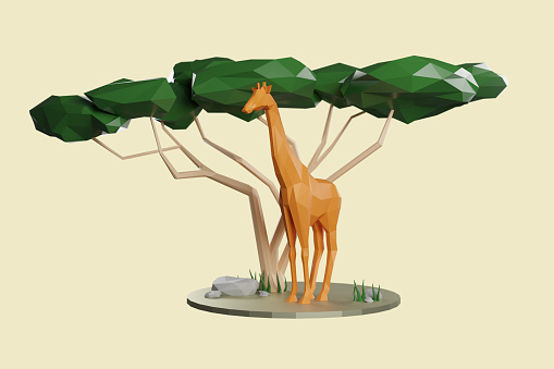Cartoon「Africa. Low poly 3d composition of an African wildlife.」:スマホ壁紙(9)