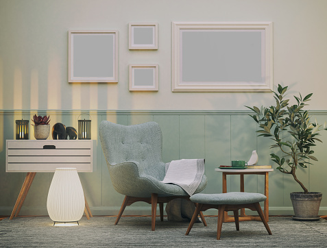 Green Color「Cozy Armchair in the Living room」:スマホ壁紙(9)