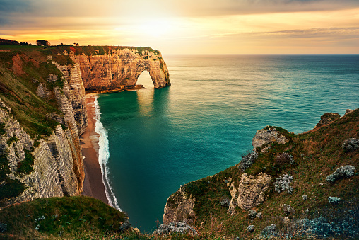Travel Destinations「sunset in Etretat」:スマホ壁紙(13)