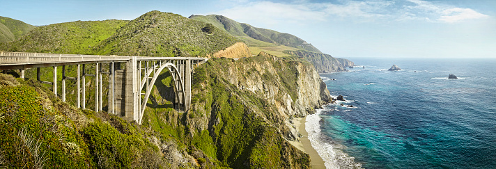 Bixby Creek Bridge「large bridge overlooking the sea at Big Sur」:スマホ壁紙(12)