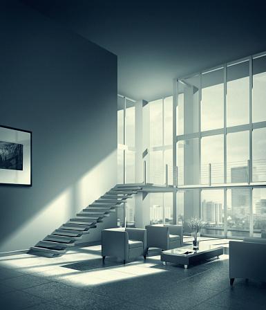 Loft Apartment「Livingroom of luxury loft in city」:スマホ壁紙(3)