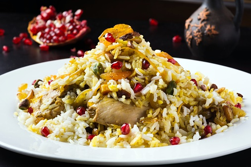 Iranian Culture「Festive middle eastern rice dish with chicken, orange peel and pistachios」:スマホ壁紙(18)
