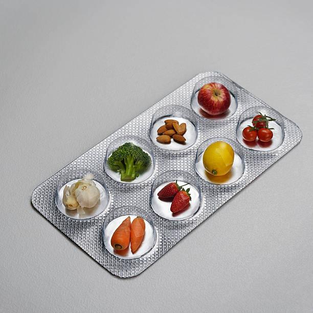 Pill blister pack containing fruit and vegtables:スマホ壁紙(壁紙.com)