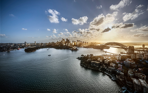 Sydney Harbor Bridge「Aeriall view of Sydney Harbour at sunset」:スマホ壁紙(18)