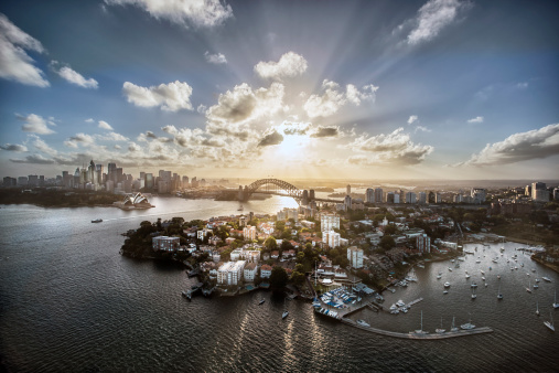Awe「Aeriall view of Sydney Harbour at sunset」:スマホ壁紙(14)