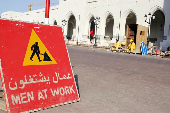 Mid Adult Men「Construction sign in downtown Muscat.」:写真・画像(17)[壁紙.com]