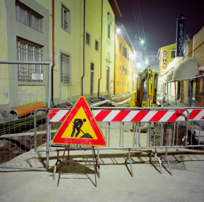 Road Construction「Construction on street, night」:スマホ壁紙(19)