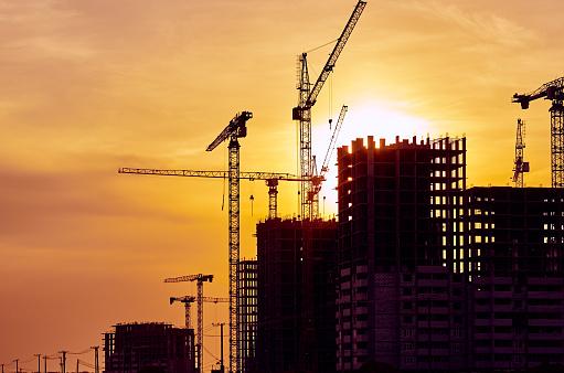 Development「Construction site crane at dusk crane」:スマホ壁紙(19)