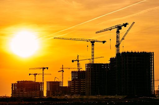 Multiple Exposure「Construction site crane at dusk crane」:スマホ壁紙(11)