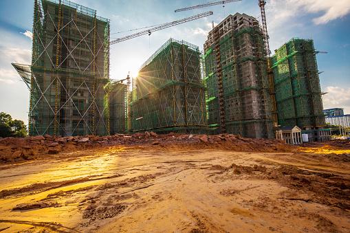 Crane - Construction Machinery「Construction site with sunlight」:スマホ壁紙(19)