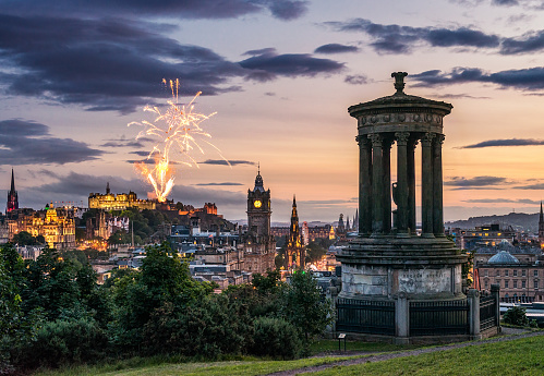 New Year「Edinburgh fireworks at dusk from Calton Hill」:スマホ壁紙(14)
