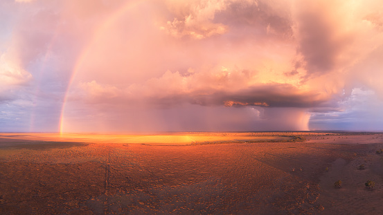 Double Rainbow「Stormy sunset with double rainbow, towering cumulus cloud and rain cells over a dry lake in Australia」:スマホ壁紙(15)