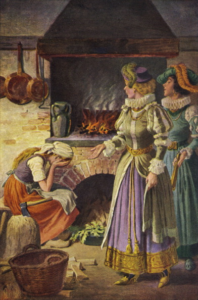 Cinderella「Cinderella by the fire cinders in the kitchen, wicked stepsisters  being unpleasant to her.」:写真・画像(1)[壁紙.com]