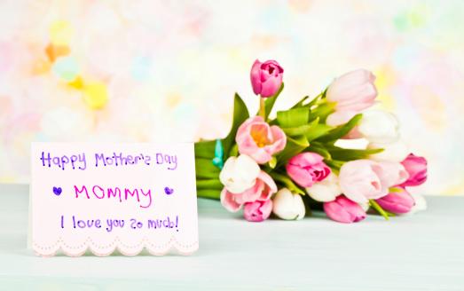 母の日「母の日カードと花の子供」:スマホ壁紙(13)