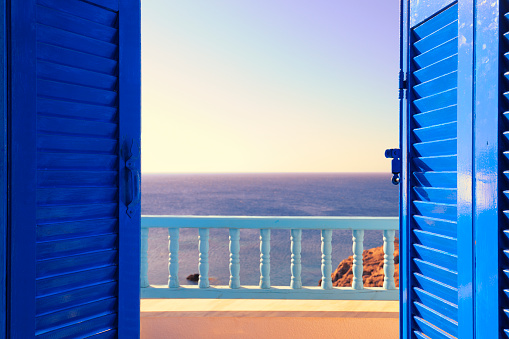 Greece「Blue Shutters Open onto Sea and Sky at Dawn」:スマホ壁紙(11)