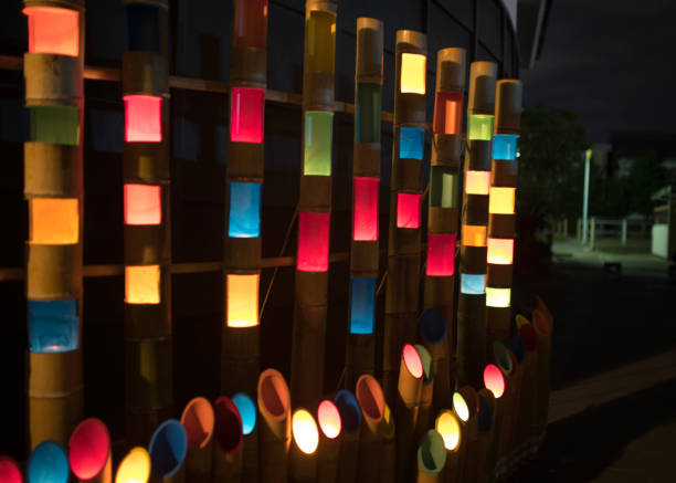Colorful candle lights in bamboo tubes:スマホ壁紙(壁紙.com)