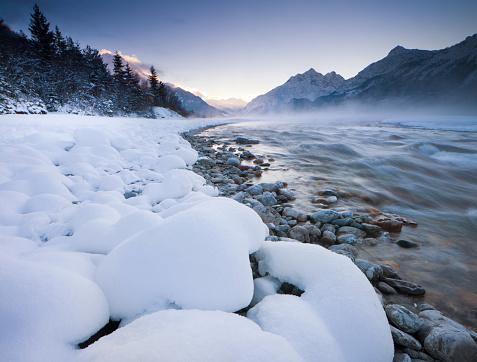 Lech River「dawn at the lech river near forchach, tirol, austria」:スマホ壁紙(1)