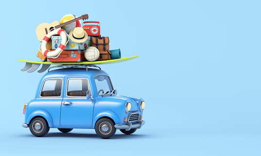 Guitar「Blue car with luggage on the roof ready for summer vacation」:スマホ壁紙(11)