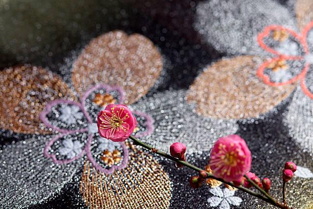 Japanese plum on kimono:スマホ壁紙(壁紙.com)