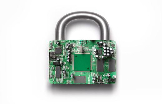 Cyber-「Cyber security padlock on white background」:スマホ壁紙(7)