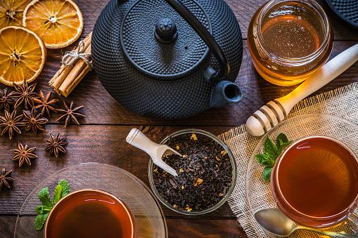 Teapot「Tea time: cup of tea, cinnamon sticks, anise, dried orange on wooden table」:スマホ壁紙(19)