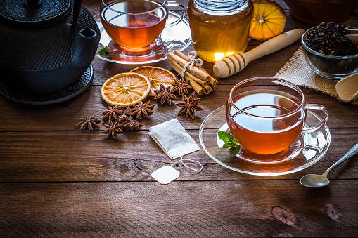 Tea「Tea time: cup of tea, cinnamon sticks, anise, dried orange on wooden table」:スマホ壁紙(17)