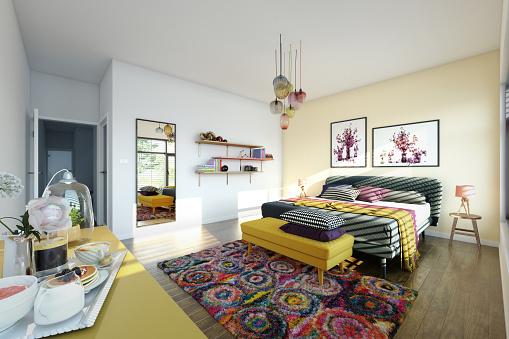 Color Image「Cozy Bedroom Interior」:スマホ壁紙(8)