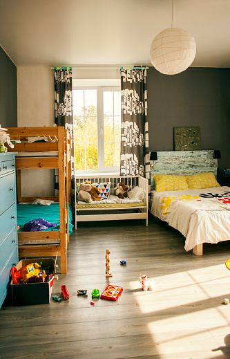 Childhood「Bunk beds and crib in bedroom of child」:スマホ壁紙(4)