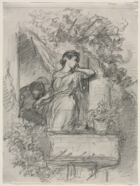 Pencil「On The Balcony. Creator: Célestin François Nanteuil (French」:写真・画像(1)[壁紙.com]